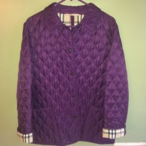 Authentic Burberry Quilted Jacket Med Purple